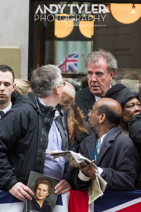 Jeremy Clarkson made his way through the crowds to the funeral service itself.