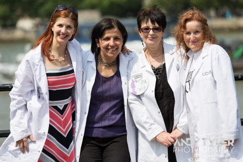 Left to Right: Dr Emily Cross, Dr Maria Grazia Vigliotti, Dr Julie Dunne, Prof Laura Piddock at Soapbox Science